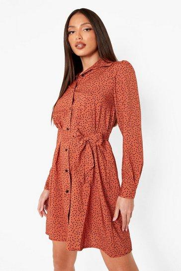 Rust orange Tall Woven Polkadot Tie Waist Shirt Dress