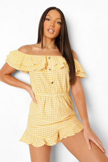 Yellow Tall Off The Shoulder Gingham Playsuit