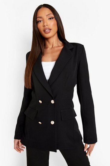 Black Tall Double Breasted Boxy Military Blazer