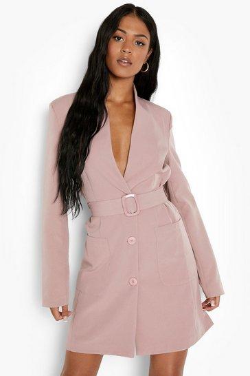 Blush pink Tall Belted Pocket Detail Blazer Dress