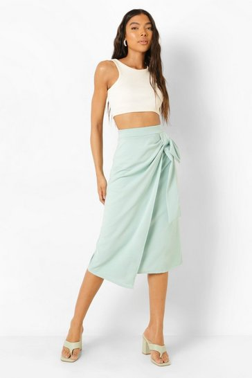 Sage green Tall Wrap Over Tailored Midi Skirt