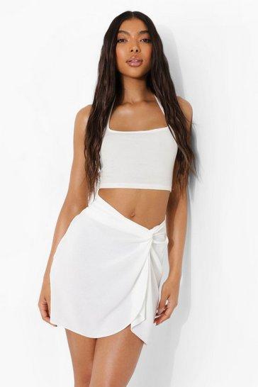 Cream white Tall Knot Wrap Mini Skirt