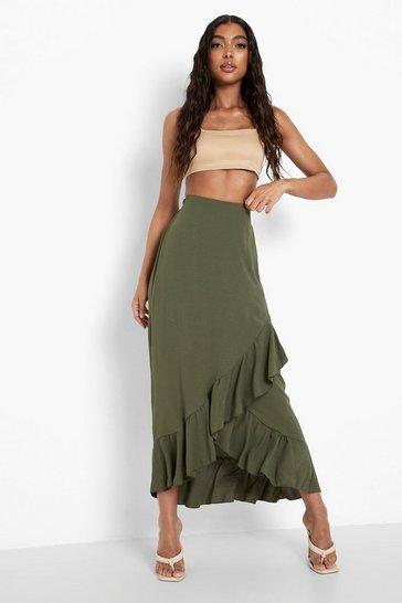 Khaki Tall Ruffle Wrap Midi Skirt