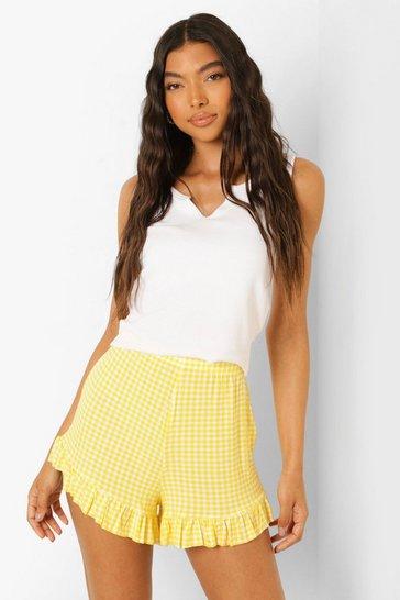 Lemon yellow Tall Gingham Ruffle Hem Flippy Shorts