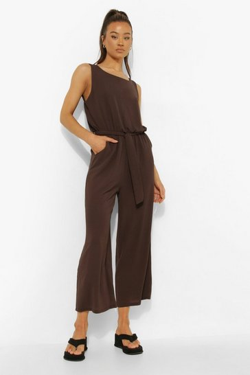 Chocolate brown Tall Woven Sleeveless Culotte Jumpsuit