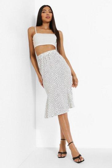 White Tall Woven Polka Dot High Rise Midi Skirt