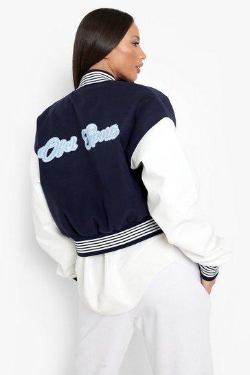Navy Tall Crop Ofcl Sports Varsity Jacket
