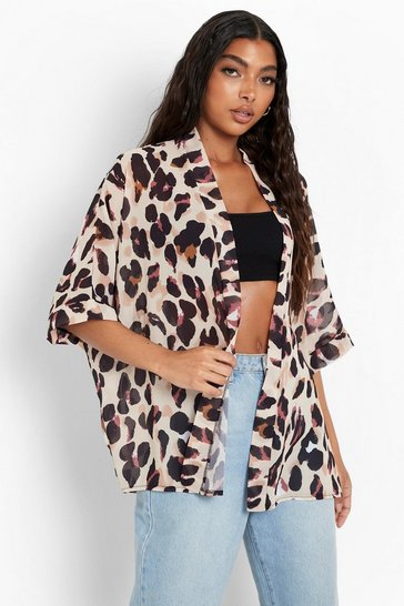 Brown Tall Leopard Print Chiffon Kimono