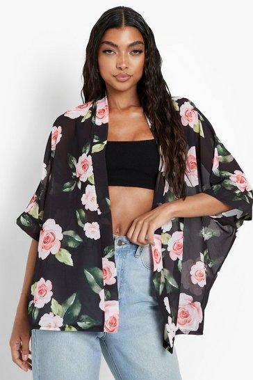 Black Tall Rose Print Chiffon Kimono