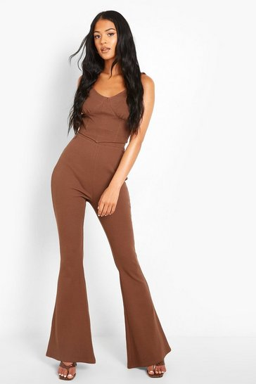Chestnut brown Tall Heavy Rib Flare Trousers