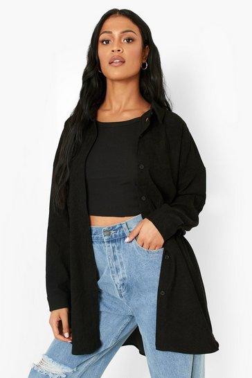 Black Tall Baby Cord Oversized Shirt