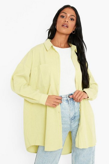 Lime green Tall Baby Cord Oversized Shirt