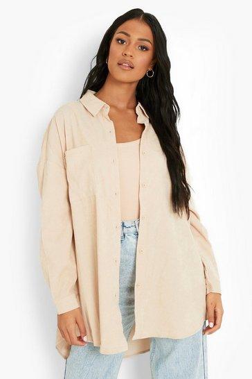 Stone beige Tall Baby Cord Oversized Shirt