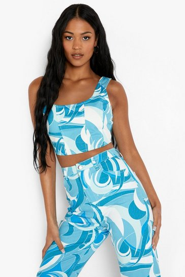Blue Tall Abstract Printed Denim Corset Top