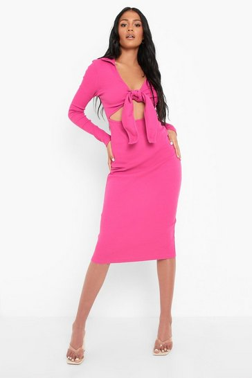 Fushia pink Tall Heavy Rib Collared Tie Front Midi Dress