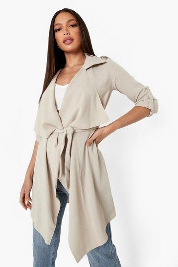 Stone beige Tall Waterfall Military Detail Belted Jacket