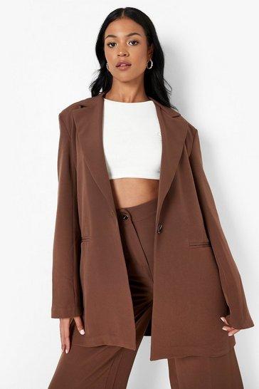 Chocolate brown Tall Oversized Blazer