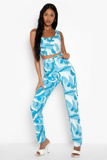 Blue Tall Abstract Printed Boyfriend Jeans