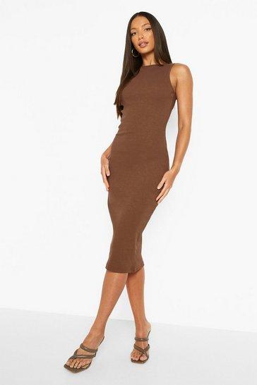 Chestnut brown Tall Heavy Rib Extreme Plunge Back Midi Dress