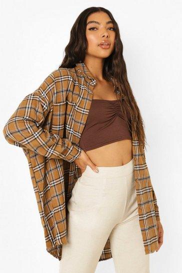 Chocolate brown Tall Oversized Check Shirt
