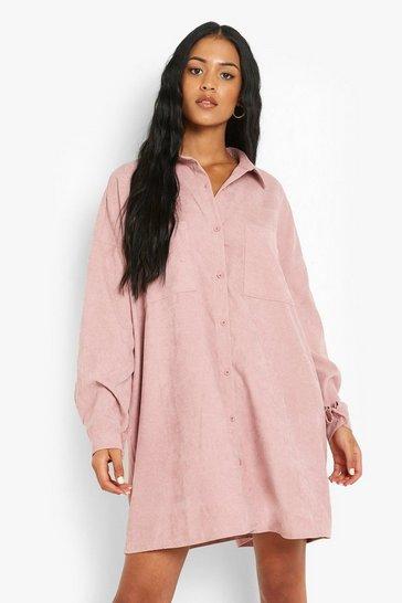 Rose pink Tall Baby Cord Oversized Shirt Dress