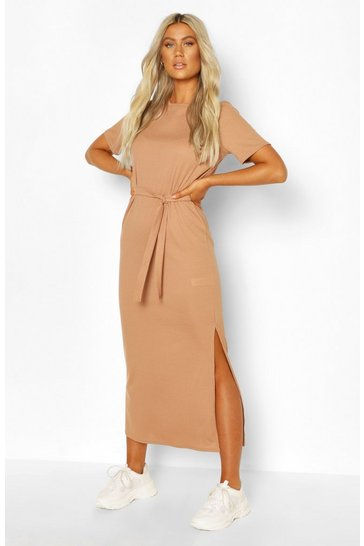 Camel beige Tall Recycled Belted Rib T-shirt Dress