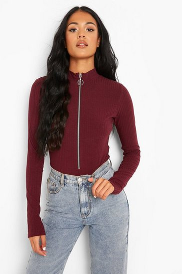 Berry red Red Tall Recycled Zip Front Knitted Rib Bodysuit