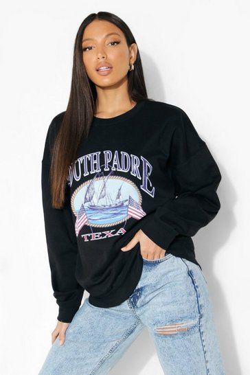 Black Tall 'Texas' Print Sweatshirt