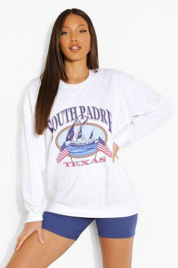 White Tall 'Texas' Print Sweatshirt