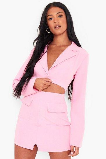 Pink Tall Cut Out Woven Blazer Dress