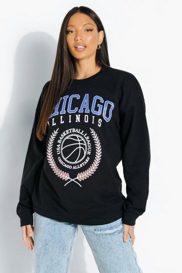 Black Tall 'Chicago' Print Sweatshirt