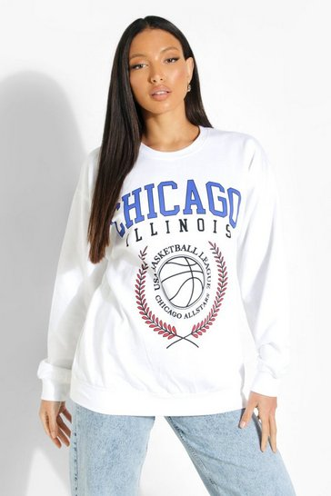 White Tall 'Chicago' Print Sweatshirt