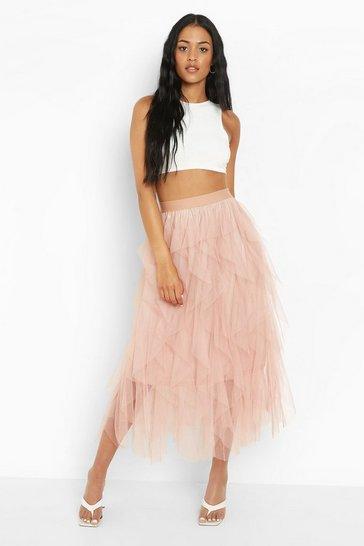 Nude Tall Layered Tulle Midi Skirt
