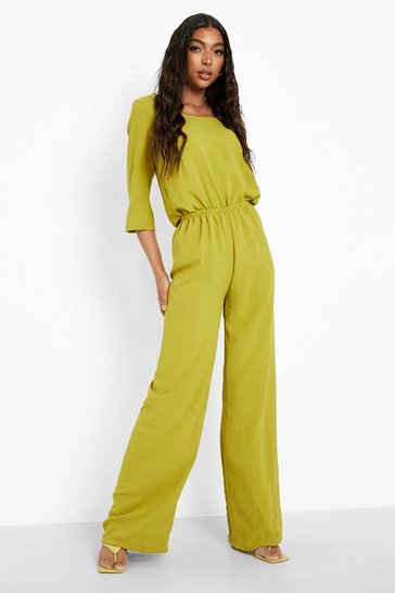 Chartreuse yellow Tall 3/4 Sleeve Scoop Neck Wide Leg Jumpsuit