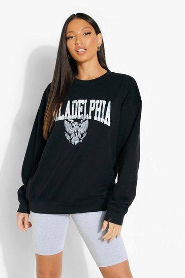 Black Tall 'Philadelphia' Slogan Sweatshirt