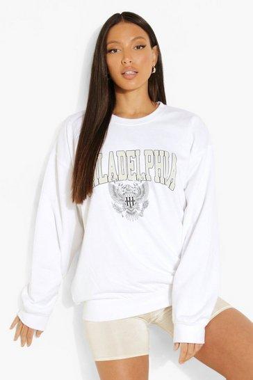 White Tall 'Philadelphia' Slogan Sweatshirt