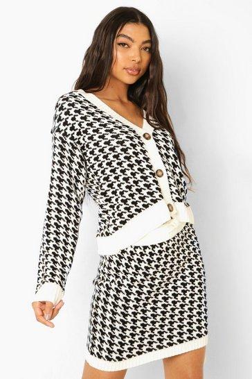 Black Tall Knitted Dogtooth Mini Skirt