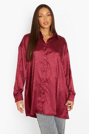 Berry red Tall Leopard Satin Oversized Shirt