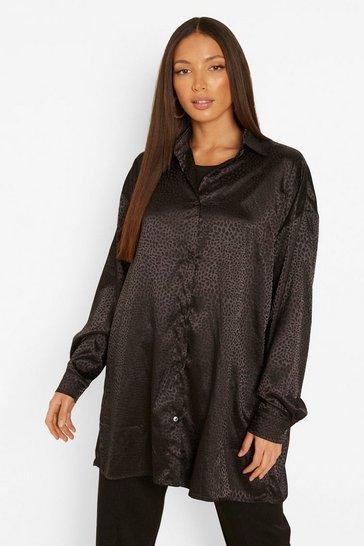 Black Tall Leopard Satin Oversized Shirt