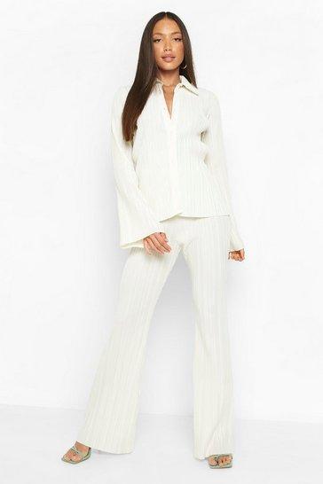 Ecru white Tall Plisse Flare Trousers
