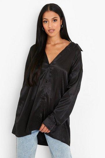 Black Tall Stripe Satin Oversized Shirt