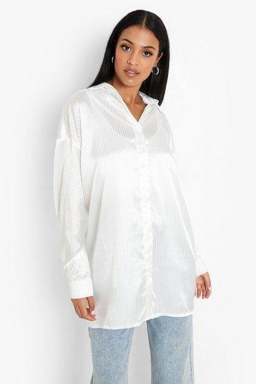 Ivory white Tall Stripe Satin Oversized Shirt