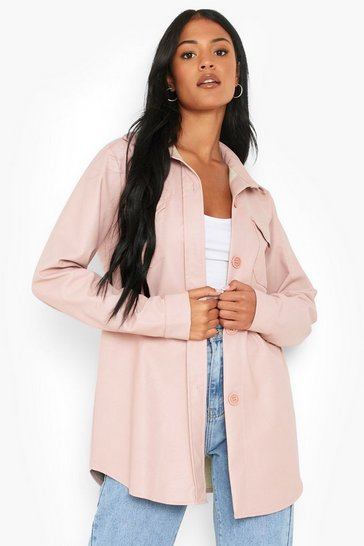 Pink Tall Oversized Faux Leather Shacket