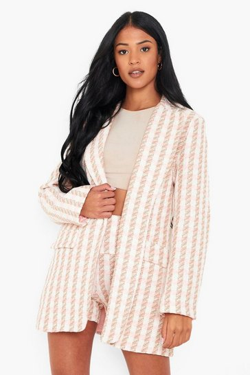Pink Tall Oversized Tailored Boucle Blazer