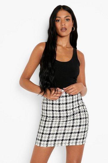 Black Tall Boucle Tailored Mini Skirt