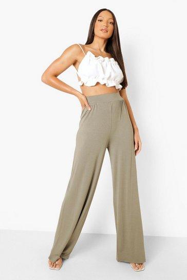 Khaki Tall Pin Tuck Jersey Wide Leg Trousers