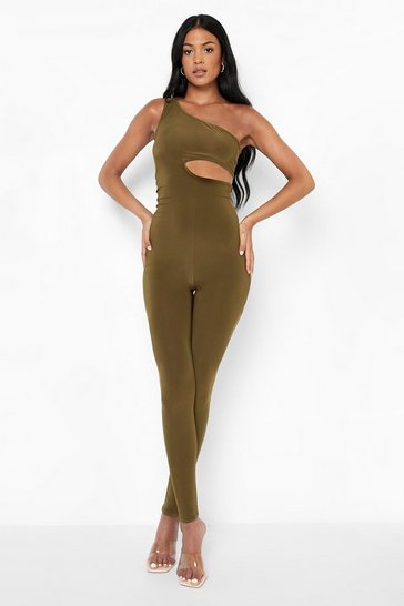 Khaki Tall Cut Out One Shoulder Slinky Jumpsuit