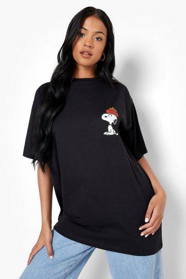 Black Tall Snoopy Licensed Print T-shirt