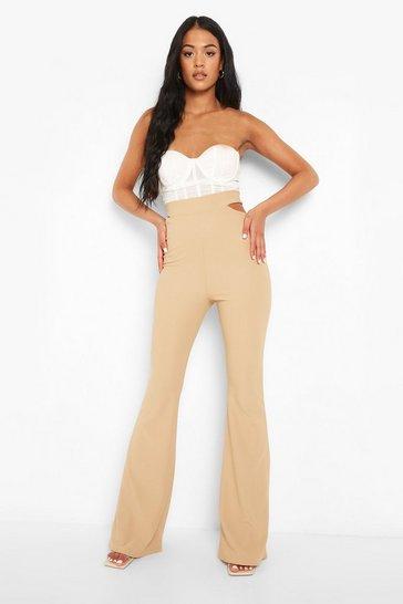 Stone beige Tall Cut Out Rib Flare Trouser