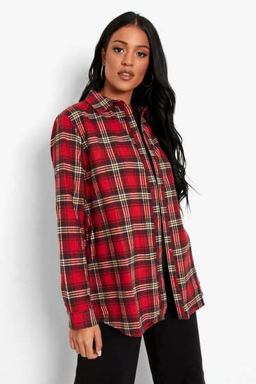 Red Tall Oversized Brushed Check Boyfriend Shirt